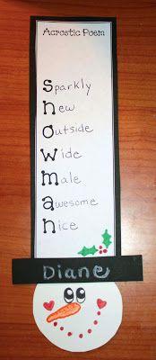 Classroom Freebies: Snowman Acrostic Poems