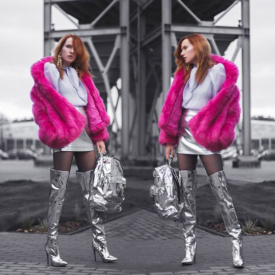 Get this look: http://lb.nu/look/8931619  More looks by Anna Jaroszewska: http://lb.nu/porcelanovva  Items in this look:  Mango Faux Fur, Mango Blouse, H&M Skirt, Public Desire Long Silver Boots, Mi Pac Silver Backpack, Na Kd Long Earings   #artistic #chic #edgy #barbie #space #cosmic #metallic #metal #silver