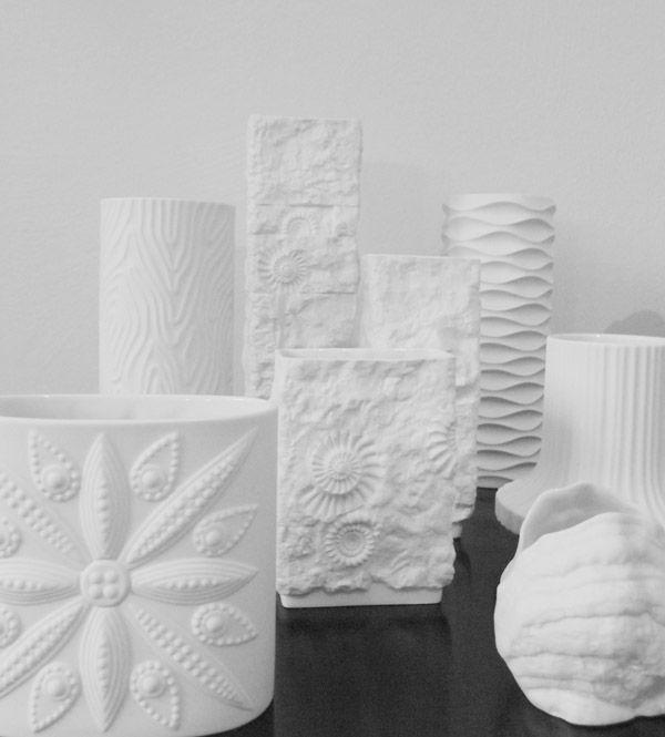 Hutschenreuther and Kaiser matte Biscuit Porcelain   op art vases