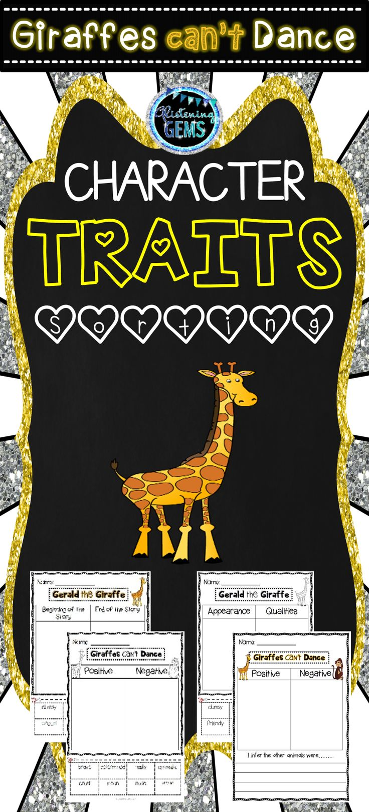 Giraffes Can't Dance - Character Traits Sorting Pack. Print and Go - color and black lined worksheets included.