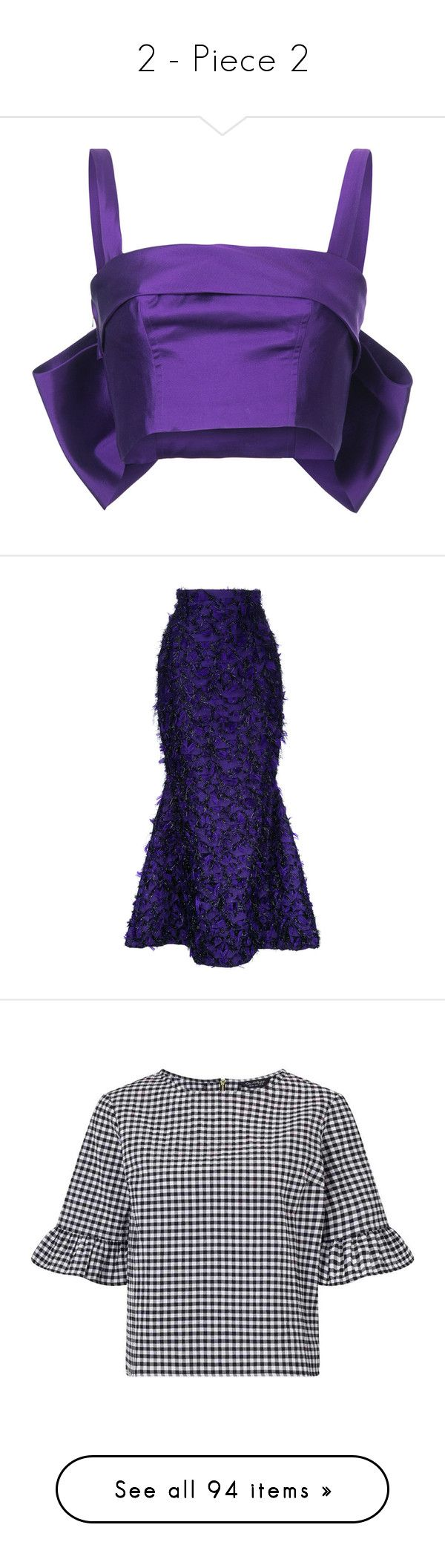 """""""2 - Piece 2"""" by simplefashionblack ❤ liked on Polyvore featuring tops, purple top, silk tops, bow back top, purple bustier top, purple bustier, skirts, fishtail skirt, brocade maxi skirt and long blue skirt"""