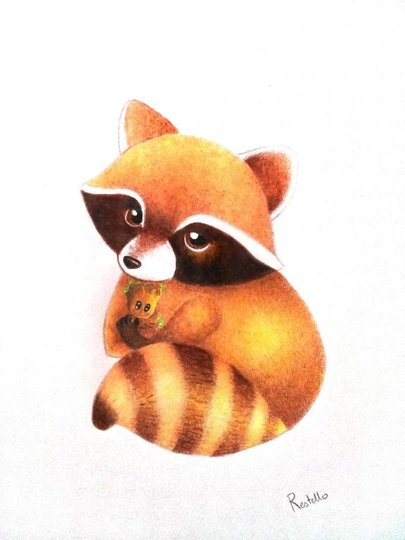 Foto: little Roket Raccoon and baby Groot :) Draw by me