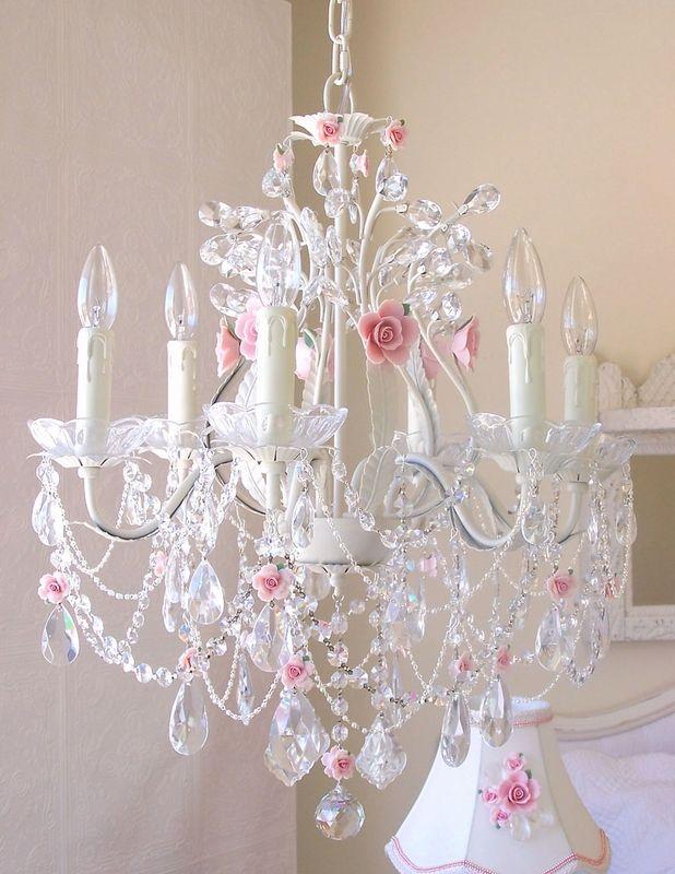 6 Light Crystal Chandelier with Pink Porcelain Roses