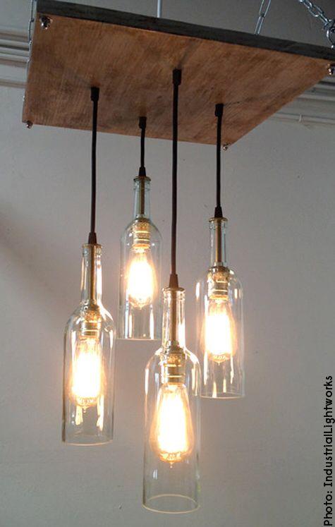 DIY lamp from wine bottles