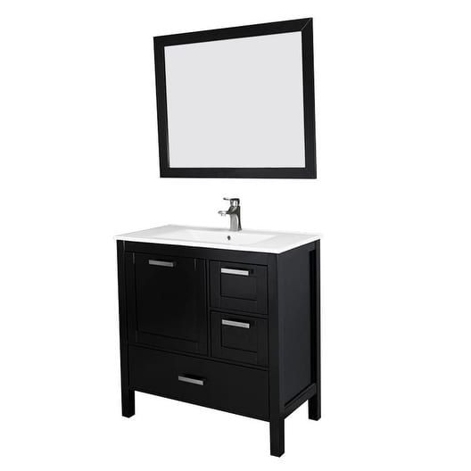Siena 36 Vanity w/ Solid Doors & Ceramic Sink (Espresso), Brown, Size Single Vanities
