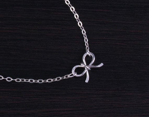 Tiny bow necklace silver bow necklace bridesmaid by OlizzJewelry