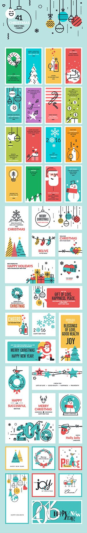 Flat Line Design Christmas Greeting Cards and Banners on Behance