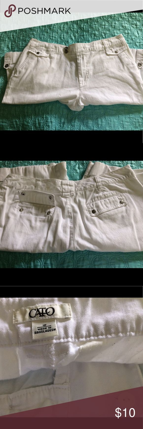 """White Capri Shorts from Cato 💕 Perfect Summer Capri Shorts. Purchased from Cato Fashions and NEVER WORE. There is a blemish which I pictured. Size 12 with Length: 21"""" and Inseam: 12"""". If you have any questions feel free to leave me a comment! Happy Poshing 😊💕💕💕 Cato Shorts"""