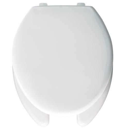 Bemis 1950SS Elongated Commercial Plastic Open Front Toilet Seat with Self-Sustaining Hinge, Silver stainless steel