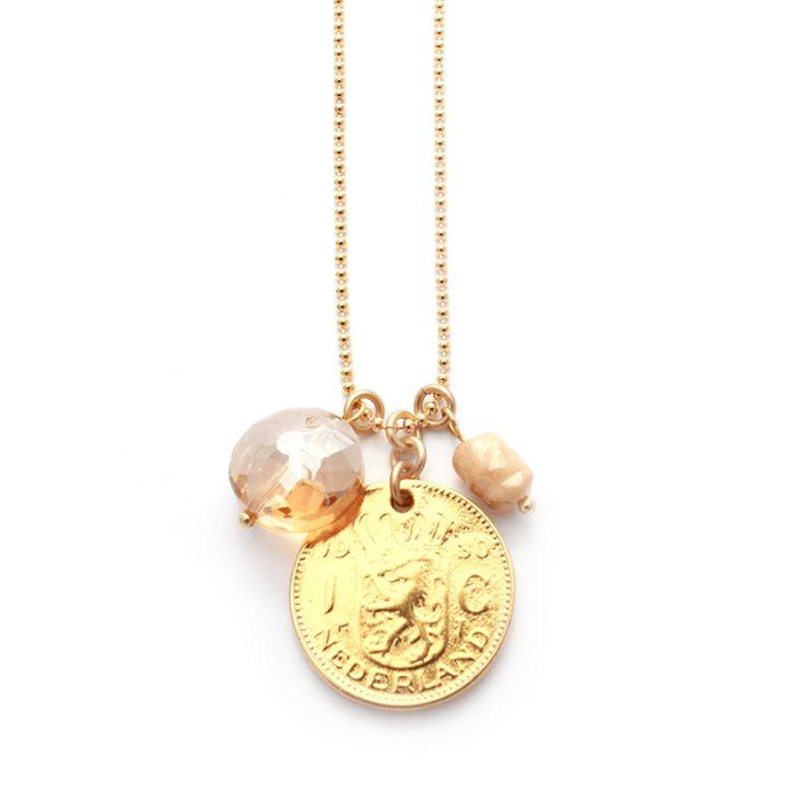 Lange ketting met gouden (gulden munt! #muntketting #necklace #coin #gulden www.Mbijoux.nl