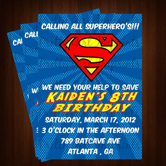 Superman Comic Inspired Invitation - Printable Superman Birthday Invitation - Customizable --Comic Book Superman Invitation ONLY $12.00