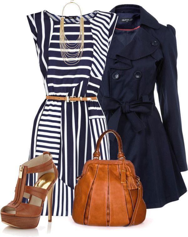 """""""Navy, White & Brown"""" by lv2create ❤ liked on Polyvore"""