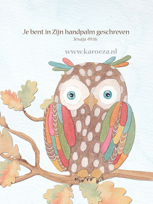 An owl illustration - een uil illustratie - www.karoeza.nl - #watercolor