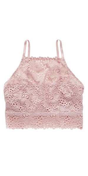 Aerie Hi-Neck Boho Bralette: They may be called underpinnings for a reason, but that doesn't mean you can't show them off. Layer this high-necked bralette under a top with a low-cut neckline to let the floral lace peek out (and provide a little modesty). Available in five colors.