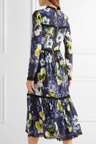 Erdem | Georgie lace-trimmed printed silk crepe de chine dress | NET-A-PORTER.COM