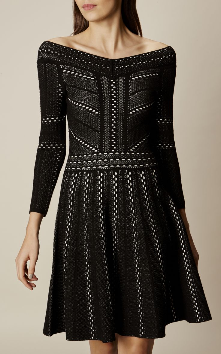Karen Millen, LACE KNIT A-LINE DRESS Black/Multi
