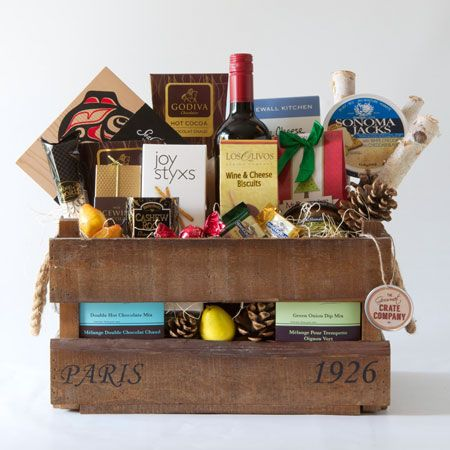 Bon Appetit!. Rustic 'vintage Paris' inspired crate packed with a variety of outstanding food and drink items.  This one is a winner and perfect for a thank you or referral gift.