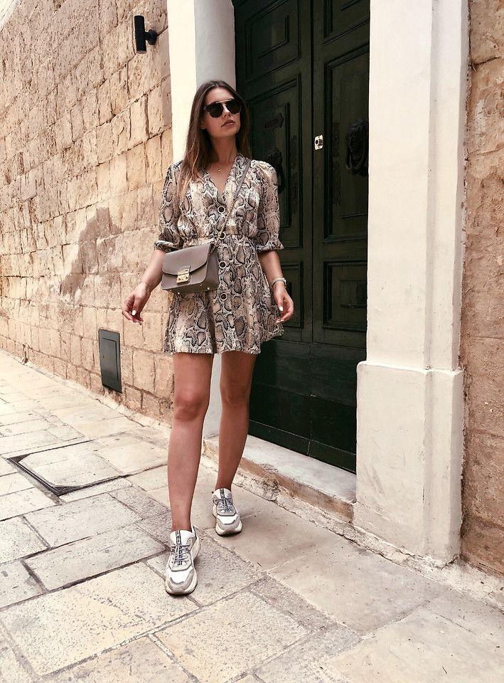 cb823ef9 Sigita Mušauskaitė - Zara Snake Print Dress, Furla Bag, Bronx Sneakers,  Dolce & Gabbana Eywear - Snake print dress