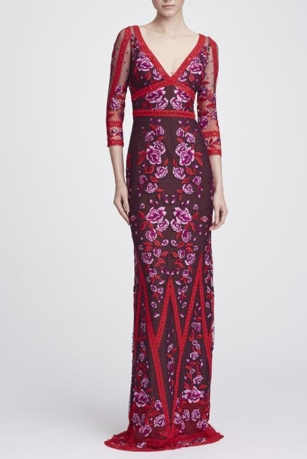 4c1f7277f7fa Marchesa Notte Wine Red Long Sleeve V Neck Lace Gown | Poshare ...