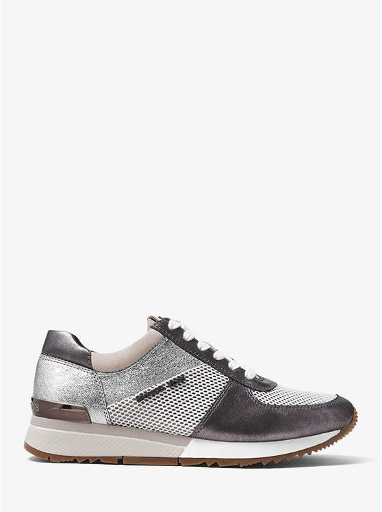 6d0a46d3ed96 ON SALE @ MICHAEL KORS! The Allie Metallic Leather Sneaker. Crackled  metallic leather and