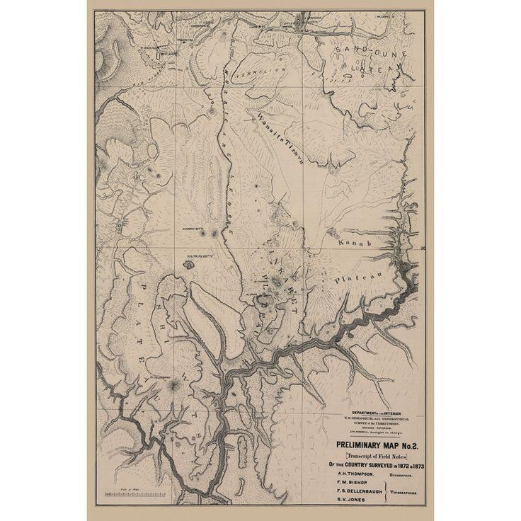 """1872 John Wesley Powell - Grand Canyon"" Map on Metal – AnthroGraphica"