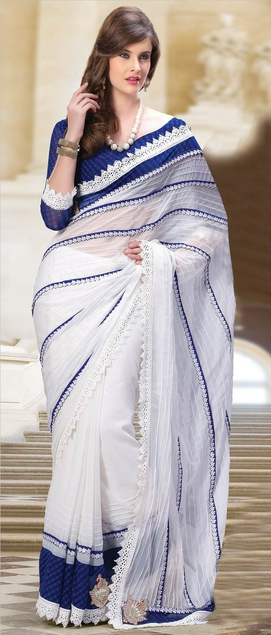 #White Faux Georgette #Saree with Blouse