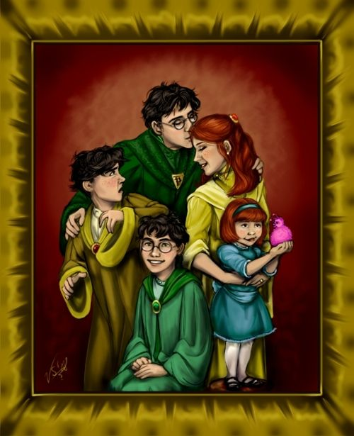 This is SO beautiful!!! I love this, Potter Family Portrait!! I love that they are dressed in actual magical-looking, old-fashioned clothes, too!! <3