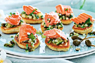 Wasabi Pikelets and Salmon with Lime and Cucumber Salsa