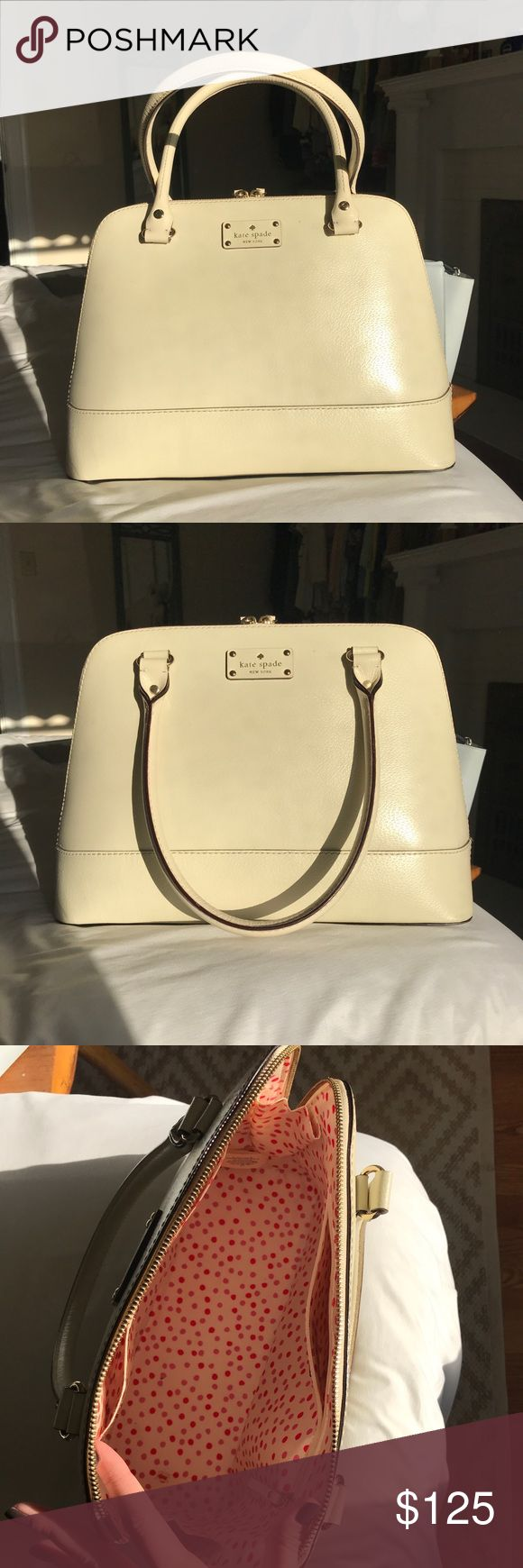 Kate Spade porcelain Wellesley Rachelle Gently used Kate Spade Wellesley porcelain Rachelle. Small imperfection near emblem. I absolutely love this bag! It's a great size, holds its shape and has the convenient inner pockets that all Kate Spades have. I'm only selling it because I don't give it the love it deserves kate spade Bags Shoulder Bags