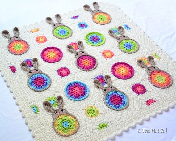 """CROCHET PATTERN - Bunnies """"R"""" Us - a blooming bunny afghan pattern, crochet blanket pattern with colorful bunnies  - Instant pdf Download"""