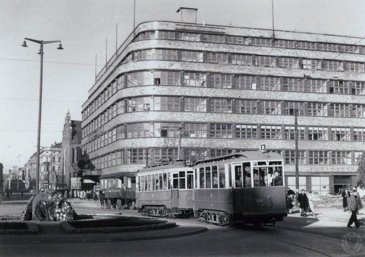 "Tramwaj linii ""13"" na pl. Kościuszki. W tle dawny Pedet/ long long time ago tram no. 13 used to pass this way close to Renoma shopping centre..."