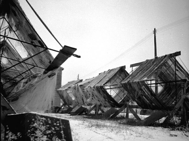 Once a popular site around Port Dover harbour and fishing shanties, gill net drying reels.
