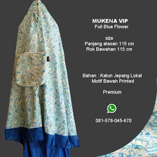 Mukena Vip Full Blue Flower - Grosir Pesan Mukena katun jepang santung bordir batik bali murah anak