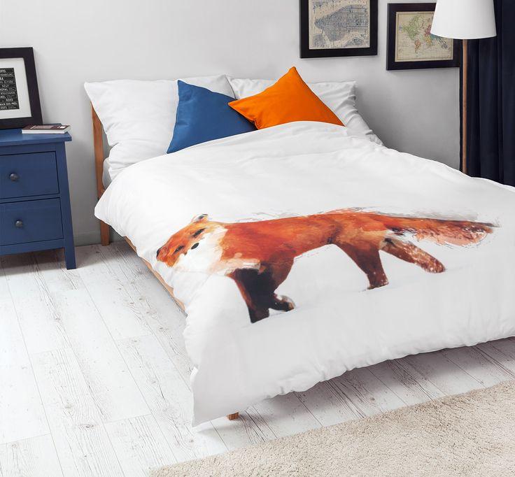 Bedroom with White Pocket bedding #fox #print