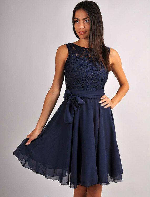 Bridesmaid Navy Blue Dress Chiffon Sleeveless Dress by Dioriss