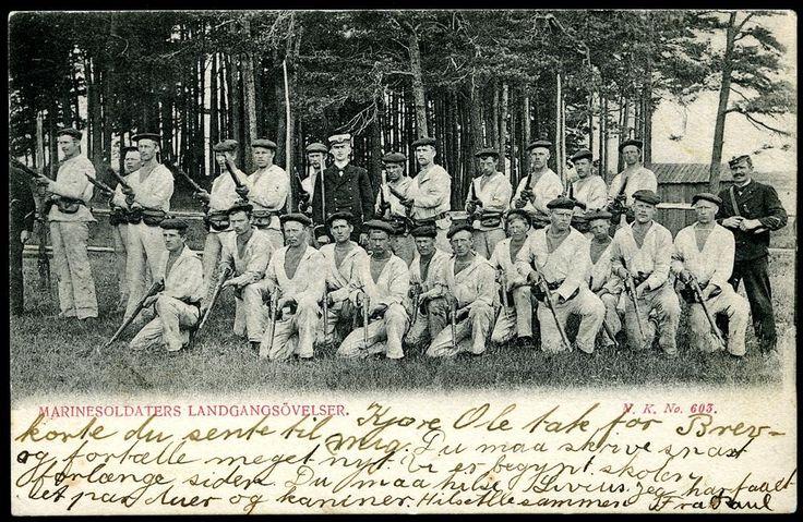 Militært motiv, MARINESOLDATERS LANDGANGSØVELSER, nærmotiv av gruppe marinesoldater  utg NK stpl. Skjærvø 1904