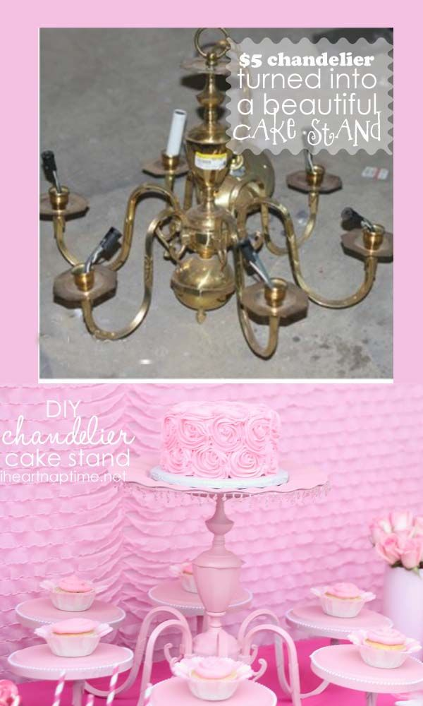 chandelier to cakestand! LOVE IT!! from @Jamielyn Nye #cakestand #DIY #chandeliermakeover