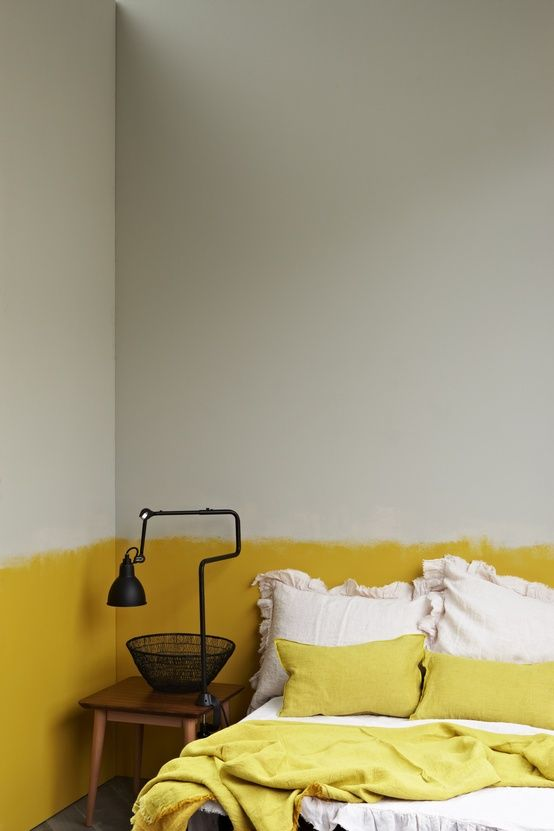 yellow - I've always wanted to try something like that vertically. Love the half paint and not a straight line!Yellow Wall, Yellow Interiors, Dips Dyes, Interiors Design, Painting Wall, Painting Ideas, Painting Techniques, Painting Effects, Mustard Yellow