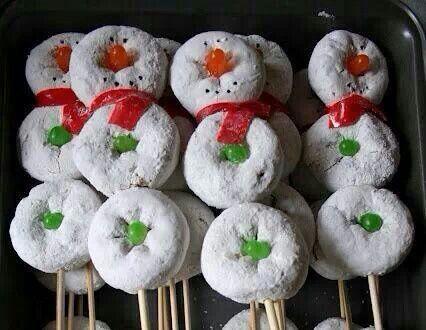 Doughnut snowmen!