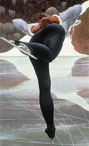 """Skater"" - Alex Colville, 1964, acrylic polymer emulsion on hardboard {female athlete posterior painting}"