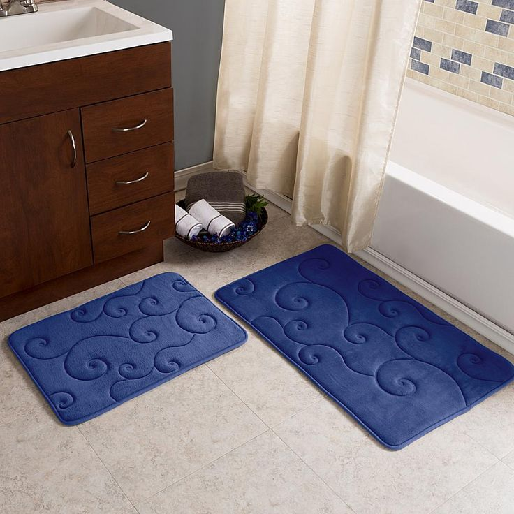 Trademark Global Lavish Home Coral Fleece Memory Foam Bath Mat 2-piece Set - Blue