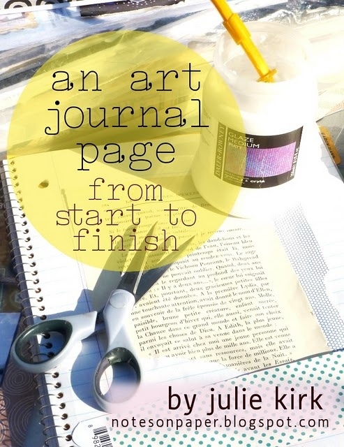 A photo step-by-step showing the process of creating a journal page.
