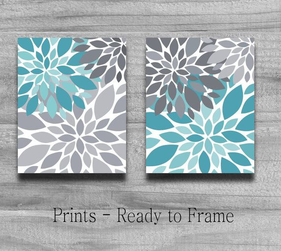 Turquoise gris flower burst print set home decor ou la for Turquoise and grey bathroom accessories