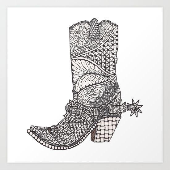 Cowboy boot drawing