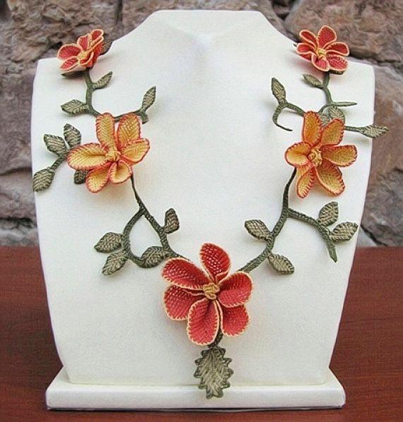 "Authentic Anatolian Needle Lace Pure Silk ""Burcin"" Necklace"