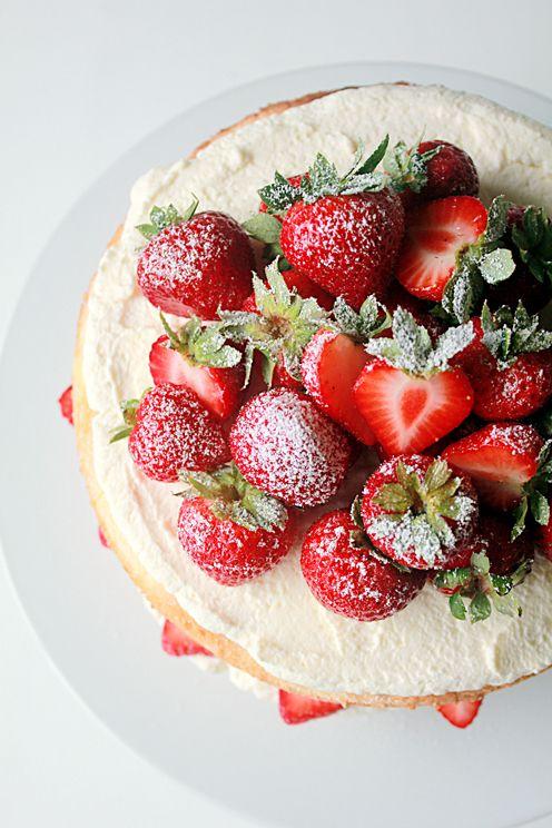 strawberry and cream sponge cake.