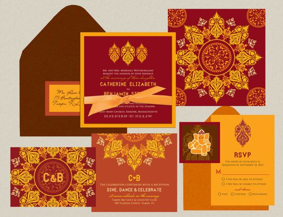 Indian Wedding Invitation: A Royal Impression - Burgundy & Gold - Inspired by the Ornate Carvings Invitation
