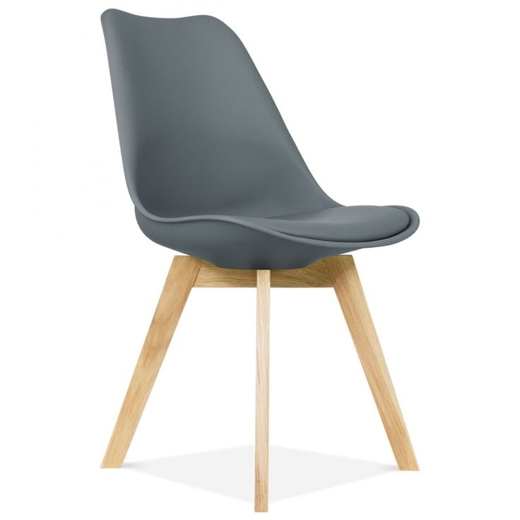 Eames Inspired Dark Grey Dining Chairs With Solid Oak Crossed Wood Leg Base