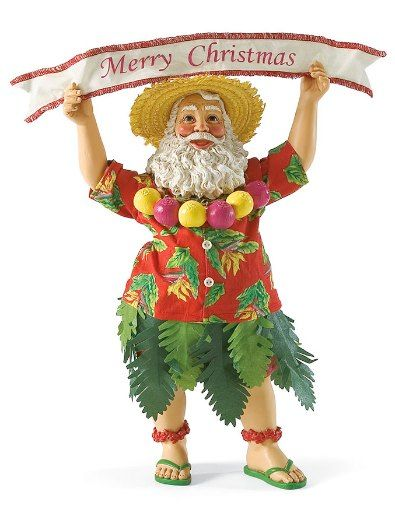Nuts For Christmas-In case you couldn't tell, Santa is nuts for Christmas. If you are too, set this 11 inch Santa out for the holidays and let Santa's banner say it all. Dressed in his tropical shirt and grass skirt, Santa's looking forward to the holiday festivities.