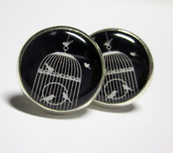 Birdcage Silhouette Silver Resin Stud Earrings by MyBlossomCouture